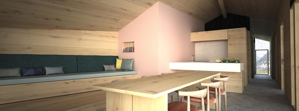 Wooden prefab cabin living room design